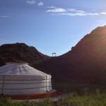 早朝のテント村